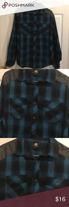 Men's Rock & Republic Shirt Men's Rock & Republic shirts excellent condition no tears or stains only worn couple times. Size large button up front pockets at top. Colors are black and dark turquoise blue Rock & Republic Shirts Casual Button Down Shirts