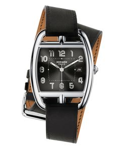 """Hermes """"Cape Cod"""" watch, with black face."""