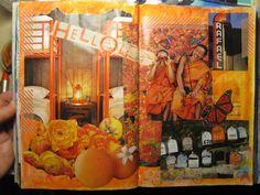 Day 7: Orange Makes Me Happy! 2 page Art Journal spread. #30DOC, @createstuff