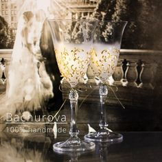Svatební skleničky sklenice vintage svatební na svatbu svatební skleničky přípitkové Fountain, Champagne, Tableware, Handmade, Dinnerware, Hand Made, Dishes, Craft, Water Fountains