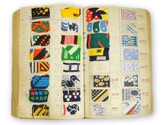 "Vintage French Swatchbook from Pattern Pulp via Lauraa Werkheiser on tumblr:  ""A French swatch book full of vintage fabrics (ala 60′s & 70′s) from the houses of Lanvin, Givenchy, Balmain, Molyneux, and Carven."""