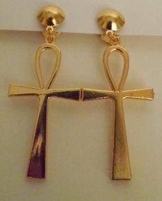 2 5 Clip On Metal Ankh Earrings Available In Gold Or Silver