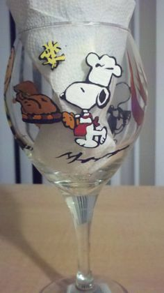 Wine Glass-peanuts charlie brown snoopy woodstock pilgrim by Deziray on Etsy,