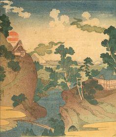 Asazawa Stream in Spring by Kuniyoshi. A view of Mount Fuji from the hot springs at Hakone. Harvard Art Museum, Kuniyoshi, Mount Fuji, Gunma, Japanese Art, Asian Art, Hakone, Hot Springs, Artist