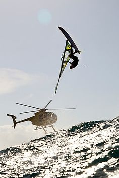 Wind surfing & helicopter. .my pilots license & some wind please