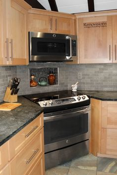 Check out this important graphics and also browse through today tips on Soapstone Kitchen Countertops Maple Kitchen Cabinets, Kitchen Cabinet Design, Kitchen Redo, Kitchen Tiles, Kitchen Layout, Home Decor Kitchen, Kitchen Flooring, Rustic Kitchen, Kitchen Interior