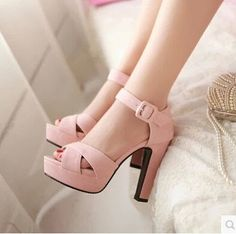 Trendy High Heels For Ladies : Stylish Buckle Design High heels Fashion Sandals Women's Shoes, Me Too Shoes, Shoe Boots, Dress Shoes, Dress Outfits, Platform Shoes, Cute Shoes Heels, Nude Outfits, Nude Shoes