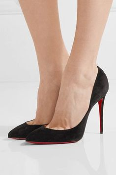 Heel measures approximately 100mm/ 4 inches Black suede Slip on Made in ItalySmall to size. See Size & Fit notes