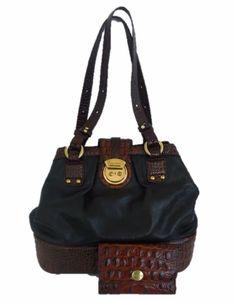 Brahmin Classic Black Pebble Leather Brown Croc Shoulder Handbag Satchel Wallet  #Brahmin #Toteshoulderbag