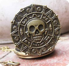 Doubloon coin skull golden dial POCKET WATCH locket necklace- Pirates of the Caribbean Necklace