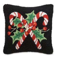 Candy Cane Hooked Wool Pillow | Sturbridge Yankee Workshop