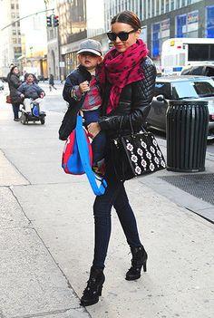 Miranda Kerr Street Style - black moto jacket and skinny jeans... Modern, sleek, flattering!