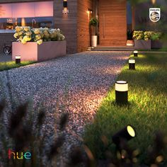 Install outdoor lights that connect to the Philips Hue smart lighting system and enjoy endless possibilities of bringing your outdoor to life with light. Entrance Lighting, Facade Lighting, Pathway Lighting, Path Lights, House Lighting, Lighting Ideas, Outdoor Walkway, Outdoor Garden Lighting, Outdoor Landscaping