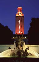 University of Texas tower lit in burnt orange...Hook 'em Horns!