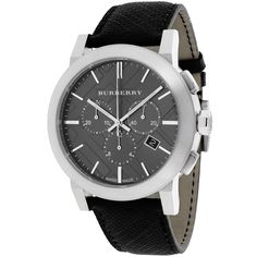 Burberry Men's BU9362 The City Round Black Leather Strap Watch - Overstock™ Shopping - Big Discounts on Burberry Men's Burberry Watches