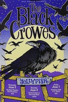 Orig The Black Crows and Jellyfish band poster, 1991 Bill Graham Presents # 44