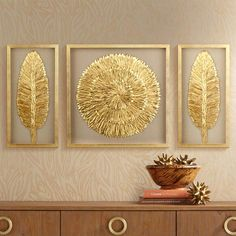 Golden Feathers 31 High Wall Art Set of 3 -New ideas for painting oleo abstract wallpaperA set of three complementing pieces of wall art with a beautiful gold finish feathers and neutral backing tones. Square wall art is 31 wide and 31 high. Wall Art Sets, Diy Wall Art, Framed Wall Art, Wall Art Decor, Canvas Wall Art, Room Decor, Gold Wall Art, Wall Painting Frames, Gold Wall Decor