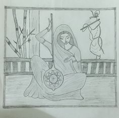 St. Meera bhai pencil art Pencil Art, Pencil Drawings, Army Drawing, Simple Drawings, Krishna, Mythology, Paintings, Diy, Bricolage