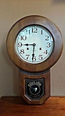 Vintage Regulator Wall Clock 31 Day Oak Wood Key Wind Up Clock Octagon Works