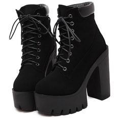 Black Chunky High Heel Hidden Platform Boots (€34) ❤ liked on Polyvore featuring shoes, boots, ankle booties, heels, black, black heeled booties, high heel boots, black high heel boots, black platform boots and lace up heel booties