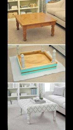 This simple guide will show you how to turn an old coffee table into a original DIY ottoman. So don't waste your time and money and start this DIY! Refurbished Furniture, Repurposed Furniture, Furniture Makeover, Unique Furniture, Rustic Furniture, Repurposed Wood, Garden Furniture, Decoupage Furniture, Painted Furniture
