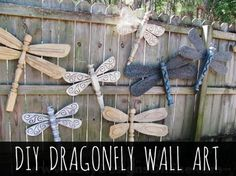 Add some whimsical style to your backyard and garden by making dragonfly wall art out of old fan blades, tables legs, and other repurposed odd-and-ins.