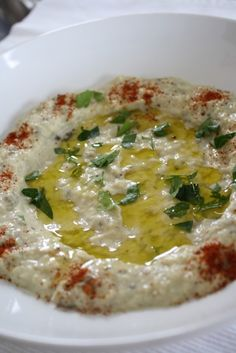 Moutabal--Roasted Eggplant Dip {so good! Chef Recipes, Great Recipes, Cooking Recipes, Favorite Recipes, Healthy Recipes, Healthy Snacks, Dinner Recipes, Hummus Recipe, Salads