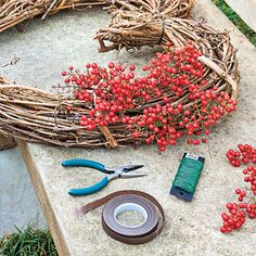 Nandina Wreath: Step 2 - Step-by-Step: Valentine's Day Heart Wreath - Southernliving. Wire berry bunches to the front of a heart-shaped grapevine wreath, and hang where garden guests can enjoy. Valentine Wreath, Valentines Day Hearts, Valentine Day Love, Valentine Day Crafts, Holiday Crafts, Holiday Decor, Valentine Ideas, Printable Valentine, Holiday Fun