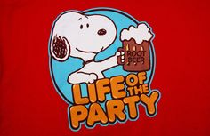 Peanuts 2XL Snoopy Life Of The Party Red T-Shirt Roobtbeer Charles Shulz