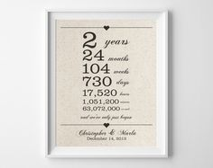 2 years together | Cotton Anniversary Print | 2nd Anniversary | Days Hours Minutes Seconds | Second Anniversary | Gift for Husband Wife (20.00 USD) by quillandflourish