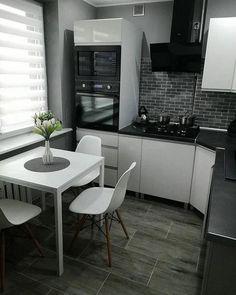 39 Inspiring Tiny Kitchen Design Ideas – Home Decoration Modern Farmhouse Kitchens, Farmhouse Style Kitchen, New Kitchen, Awesome Kitchen, Small Kitchens, Beautiful Kitchen, Kitchen Room Design, Interior Design Kitchen, Kitchen Decor