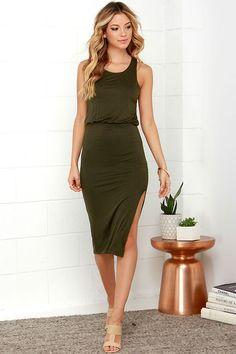 Walk On By Olive Green Midi Dress at Lulus.com!