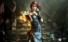 The Witcher, Triss Merigold, Books, Magic, Women, Video Game