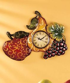 Large Metal Mixed Fruit Wall Clock
