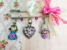 Decorated pin-Brooch Safety pin Brooch by IrinaSmilansky on Etsy