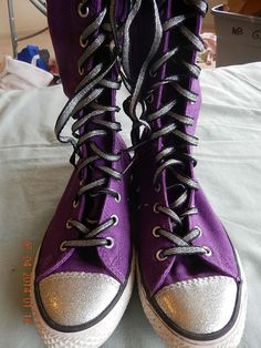 new converse all star chuck taylor purple silver high knee size 4 sneakers