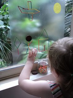 A Little Learning For Two: Sticky Window Art