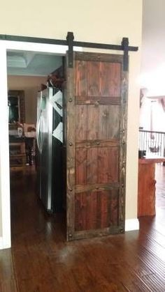 Custom built spanish style sliding barn door with clavos and a dark stain. Locat… Custom built spanish style sliding barn door with clavos and a dark stain. Located in San Diego! House, Home, Interior Barn Doors, Mission Style Homes, Doors Interior, Mediterranean Home Decor, Wood Doors Interior, Spanish Style Homes, Door Inspiration