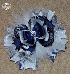 Love this hair bow! special occasion stacked hair bow holiday bow glitter ribbon sparkle feathers
