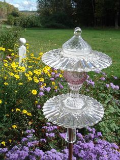 Upcycled Junk in the Garden | Garden Glimmers: upcycled vintage glass garden ornaments--made by my ...