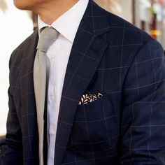 Navy checked suit; love the suit!