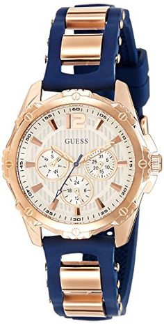This ladies Guess watch, features a rose PVD gold plated polished case with a white sunray multi-function dial and a blue smooth silicone strap that fastens with a strap buckle. This watch is also powered by a quartz Bracelets Bleus, Bracelet Silicone, Watch Model, Color Azul, Cool Watches, Guess Watches, Watches Online, Stainless Steel Case, Rose Gold Plates