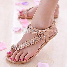 Women' Shoes Best Seller Summer Bohemia Style Leather Flat Heel Beaded Flower Flip Flops Sandals Casual (More Colors available) 2016 - $19.99