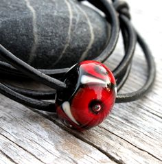 Red & Black Glass Bead Leather Necklace, Simple, Necklace, Lampwork Jewelry, Glass, Bead, Lampwork, Glass Jewelry, Swedish Handmade by MarianneDegener on Etsy