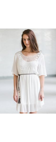 Lily Boutique Belted Boho Flowy Dress in Off White, $36 Off White Belted Boho Dress, Cute Summer Dress, White Sundress www.lilyboutique.com