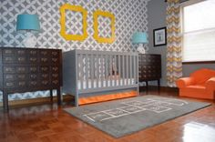 If you love the idea of a geometric pattern but don't want to invest in wallpaper, stencil on a repeating pattern. This unisex gray wall was created using Cutting Edge Stencils' Nagoya Repeating Stencil.
