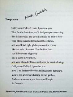 call yourself Alive by Nina Cassian. one of the most amazing piece of poetry i have ever read. Artsy Fartsy, First Time, Poems, Feelings, Reading, Quotes, Quotations, Poetry, Verses