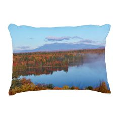 Mt.Katahdin Autumn Scenery Throw Pillows by KJacksonPhotography -- Taken 10.12.2014 Mt. Katahdin, the beautiful blue skies and some clouds contrast wonderfully with surrounding colorful canopy of autumn leaves of the forest - brilliant dazzling reds, oranges and golds. Salmon Stream Lake beautifully reflects the kaleidoscope of colors of this fall's vivid hues. From the I95 scenic turnout, mile marker 252.PC:243.284  #throwpillow #throwpillows #maine #landscape #autumn