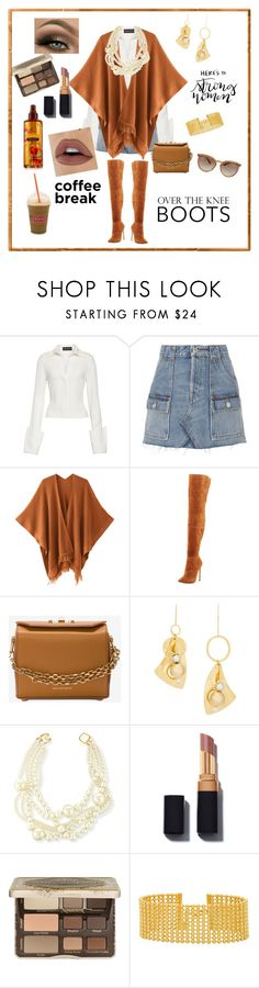 """""""Here's To Strong Women"""" by gigiglow ❤ liked on Polyvore featuring Brandon Maxwell, RE/DONE, Neiman Marcus, Alexander McQueen, Mounser, Kenneth Jay Lane, Too Faced Cosmetics, Victoria's Secret, Gorjana and Valentino"""