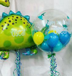 """Touch Of Class on Instagram: """"Dinosaur Roar🦕💚 #dinosaurballoon #dinosaurpartyideas #personalisedgifts #balloons #luxuryballoons #decobubble #qualatex #bubbleballoons…"""" Boys 1st Birthday Party Ideas, Dinosaur Birthday Party, Birthday Balloons, Birthday Party Decorations, Elmo Party, Mickey Party, Dinosaur Balloons, Dinosaur Dinosaur, Festa Jurassic Park"""